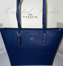 NWT $295 Coach Crossgrain Leather Zip Top City Tote Shoulder Bag BLUE & receipt