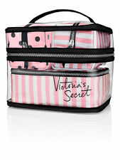 Victoria's Secret Pink Stripe Logo Makeup Train Case Bag Set of (4pcs) Tote NWT!