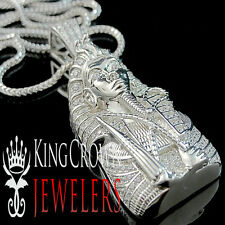 Real 10K White Gold Silver King Tut Pendant Lab Diamond Egyptian Pharaoh Chain