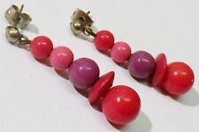 boucles d'oreille percée bijou rétro clou pampille perles rouge rose mauve *4993