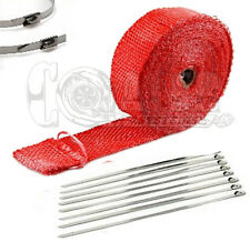 """RED EXHAUST PIPE HEAT WRAP 2"""" x 25' MOTORCYCLE HEADER INSULATION"""