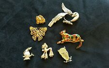 Lot of Vintage Animal Brooches Butterfly Poodle Cat Seal Lion Parklane Owl Bird