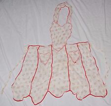 Vintage 50's Sheer Heart Pinup Lace Kitchen APRON ROCKABILLY Red White Floral