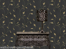 Black & Gold, Vine Design, Italian Vinyl Wallpaper by Holden Decor 33690