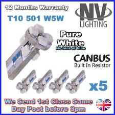 5 x ERROR FREE CANBUS W5W T10 501 LED SIDE LIGHT BULB 8 SMD - Pure White