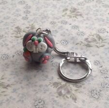keyring Handmade Easter Bunny Silver Fimo Cut Gift