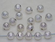 100pcs Silver-plated Bright Stardust Metal Beads Copper Spacer beads 6mm DF340