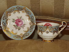 Paragon England Antique Rose Blue & Gold Fine Bone China Cup & Saucer Signed