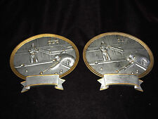 2 PLAYING POOL BILLIARDS ROOM WALL PLAQUES CHALKWARE  VERY DETAILED SILVER 8 x 7