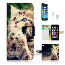"""iPhone 6 (4.7"""") Print Flip Wallet Case Cover! Pray Cat Pussy P0080"""