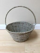 POTTERY BARN KIDS Happy Easter Silver Rope Basket Collapsible Handle Small NEW