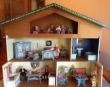 VTG Dora Kuhn German Bavarian 3 story Dollhouse, furniture & 7 VTG Caco Dolls