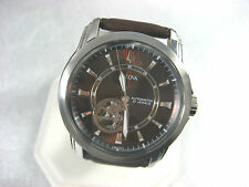 BULOVA AUTOMATIC 96A101 MEN'S CASUAL WATCH 21 JEWELS S/S CASE LEATHER ANALOG