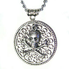 Filigree Medallion Skull w/Crossbones Pirate Coin Silver Plated Pendant Necklace