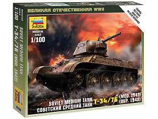 Zvezda 1/100 15mm ruso T-34 76 Modelo 1943 Platoon 5 tanques llamas de la guerra