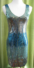 Lily Rose Teal Silver Sequin Double V-Neck SEXY Bodycon Cocktail Dress S NWT $58