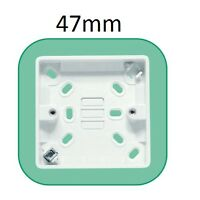 1G 1 GANG SURFACE MOUNTED PATTRESS ELECTRICAL SOCKET BACK BOX, 47MM, WHITE