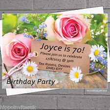 40th 50th 60th 70th 80th Afternoon Tea Birthday Party Invites Flowers x12 H0015