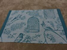 Birds bird cage flowers leaves deep duck egg blue teal craft remnant material