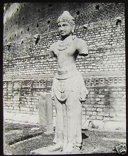 Glass Magic Lantern Slide STATUE IN ANARADHAPURA CEYLON C1910 SRI LANKA