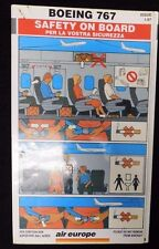 1997 Air Europe Airlines Boeing 767 Rare Emergency Safety Card
