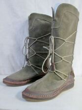 EUC Womens REBELS LEATHER Tall Combat BOOT 7 Green Brown STEAMPUNK