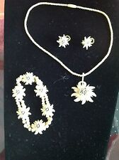 VINTAGE SET NECKLACE BRACELET SCREW BACK EARRINGS EDELWEISS BAKELITE SWITZERLAND
