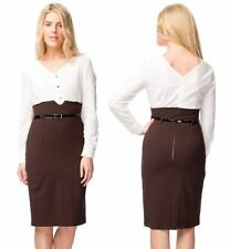 Ladies Long Sleeve Cream Blouse Top Belted Belt Skirt Formal Office Dress 12