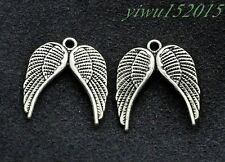 Tibetan silver charm pendant Angel wings jewelry finding 12-200pcs 42x12mm 1.2g