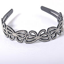 Gift lady girl women headband alice band diamante butterfly hair accessory