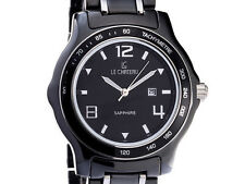Le Chateau Men's Black Ceramic Silver Tone Watch