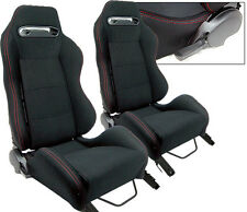 NEW 1 PAIR BLACK CLOTH & RED STITCHING ADJUSTABLE RACING SEATS ALL TOYOTA **