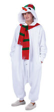 SNOWMAN ADULT FUNSIE COSTUME WHITE CHRISTMAS SNOW MAN PAJAMAS COSTUMES JUMPSUIT