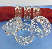 Vintage Set of 6 Clear Diamond Cut Crystal Glass Table Napkin Ring Holders