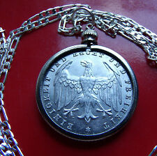 "RARE 1923 German 500 Mark Weimar Eagle Coin Pendant on a 30"" 925 Silver Chain"