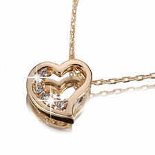 18K ROSE GOLD GF SWAROVSKI CRYSTAL LOVE HEART PENDANT NECKLACE
