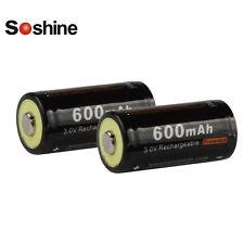 2pcs Soshine 3V 600mAh Battery 16340 RCR123 LiFePO4 Rechargeable Batteries