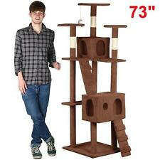 New Cat Tree Tower Condo Furniture Scratch Post Kitty Pet House Play Brown  73""