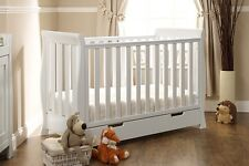 OBABY MINI LINCOLN SLEIGH COTBED WITH UNDER COT DRAWER- WHITE