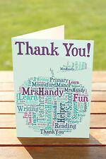 Personalised Word Art THANK YOU CARD Greeting Leaving gift for teacher A5 Apple