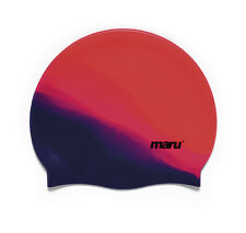 Maru Multi Silicone Swim Hat Red/Pink/Purple Silicone