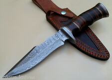 Damascus Knife Custom Handmade  - 11.00 Inches Leather  HANDLE BOWIE