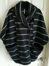 Free People Poncho Sweater Shaw Black Stripes XS Ladies Coat Hobo Trendy
