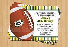 Green Bay Packers Birthday Party Football Super Bowl Invitations Cheesehead