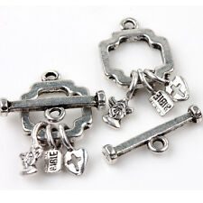 5Sets New Tibet Silver Clasps Hooks Lock Shaped Charms Jewelry Findings 25x13mm