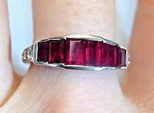 Natural Ruby and Diamond 18K White Gold Art Deco Style Ring Band Size 6.5