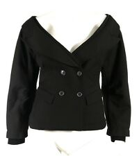 DONNA KARAN Black Wool Blend Double-Breasted Portrait Collar Jacket 6