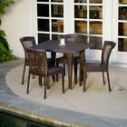 Outdoor Patio Furniture 5pcs All-weather Brown Wicker Dining Set