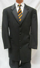 36S Black Perry Ellis Long Tuxedo Jacket Frock Coat Steampunk Dickens Victorian