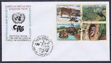 UNO Genf FDC 4er Block gefährdete Tierarten 2001 mit SST, first day cover